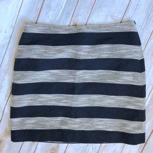 LOFT Navy & Cream Wide Stripe Skirt